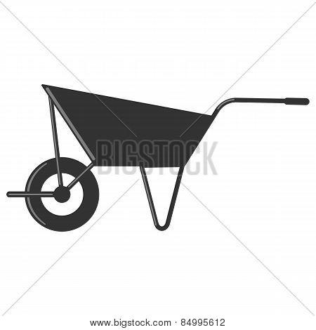 Single wheelbarrow vector illustration in black color