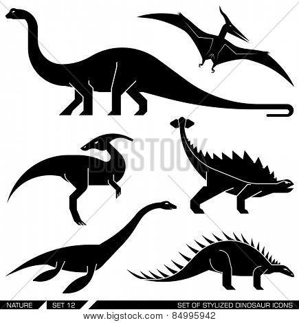 Different types of prehistoric dinosaur icons: brontosaurus, diplodocus, apatosaurus, velociraptor, parasaurolophus, polacanthus, pterodactyl. Vector illustration.