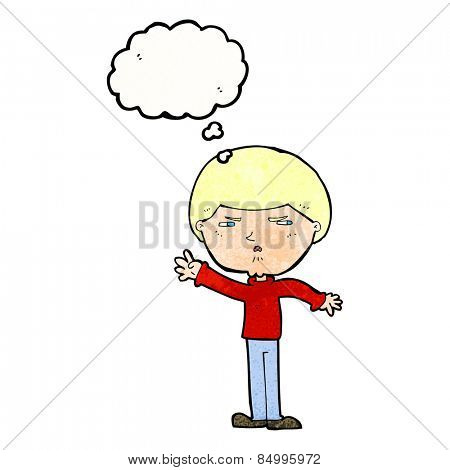 cartoon mean man with thought bubble