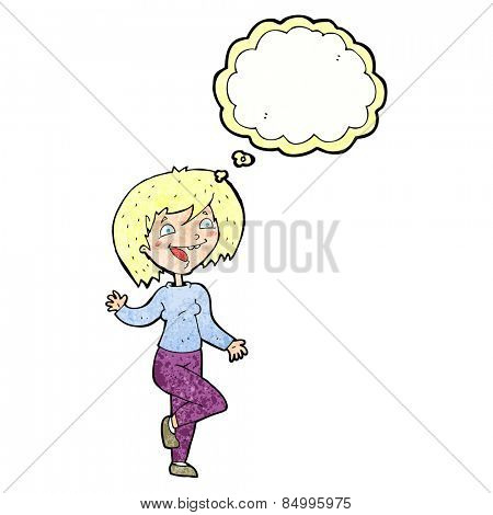 cartoon laughing woman with thought bubble