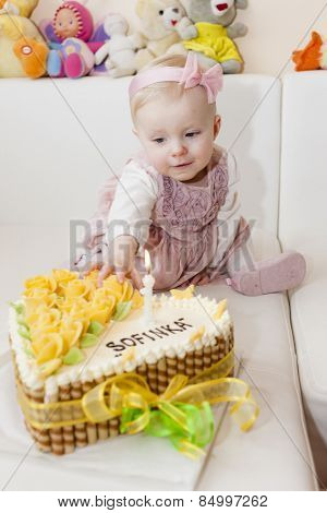 portrait of sitting toddler girl with her birthday cake