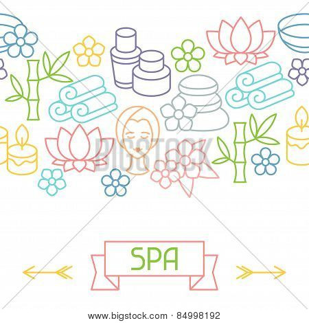 Spa and recreation seamless pattern with icons in linear style