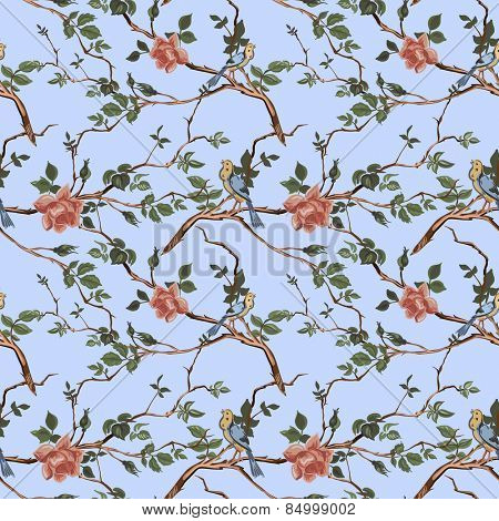 Rose blossom branches with bird seamless pattern background