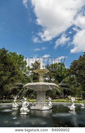 Ornate Fountain In Forsyth Park