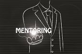 pic of mentoring  - business man holding the word Mentoring - JPG