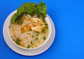 pic of glass noodles  - Glass noodle soup with chicken and beansprouts on a blue background - JPG