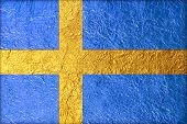 image of sweden flag  - sweden Flag with a Shiny leaf Bronze Shiny leaf foil texture background - JPG