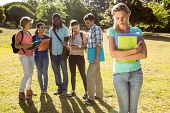 image of school bullying  - Student being bullied by a group of students on a sunny day - JPG