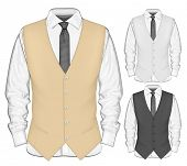 picture of button down shirt  - Dress shirt with waistcoat - JPG