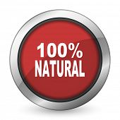 picture of 100 percent  - natural red icon 100 percent natural sign  - JPG