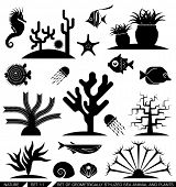 stock photo of aquatic animal  - Set of geometrically stylized sea animal and plant icons - JPG