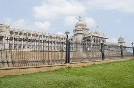 stock photo of vidhana soudha  - Railing in front of a government building - JPG