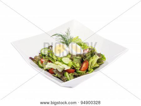 Green Salad with Hardboiled Egg
