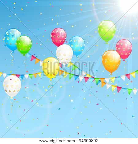 Birthday Decoration On Sky Background