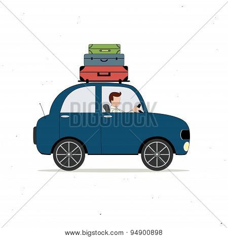 Blue Car Loaded With Luggage