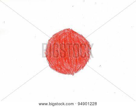 Japan Flag, Pencil Drawing Illustration Kid Style Photo Image