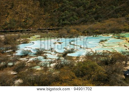 China Huanglong calcification pool of sichuan