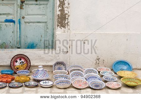 National Traditional Pottery. Sold On The Street. Mahdia. Tunisia. Africa.