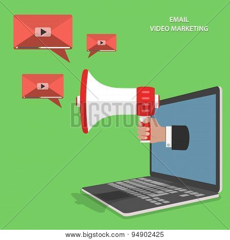 Video email marketing flat isometric vector.