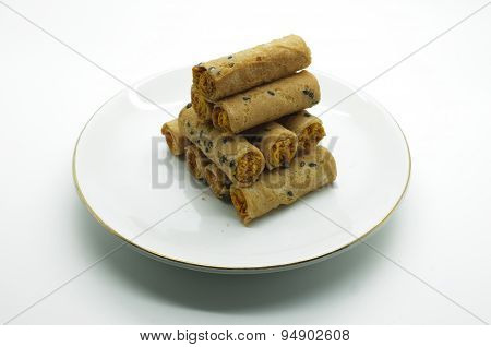 Thai rolled wafer stacking on dish