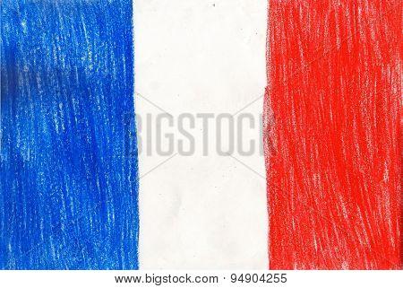 France Flag, Pencil Drawing Illustration Kid Style Photo Image