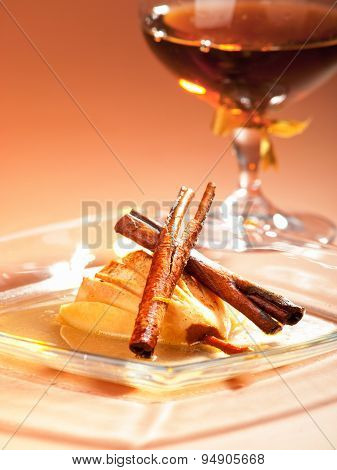 Pears With Rum And Cinnamon