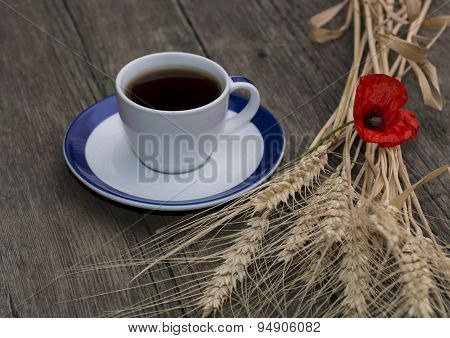 Mug Of Black Coffee Wheaten Colossuses And Flower