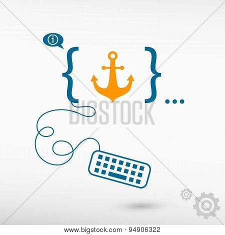 Anchor Icon And Flat Design Elements