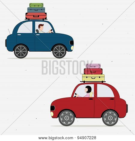 Two Cars Loaded With Suitcases Drivers