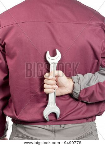 Repairman Hand With Wrench