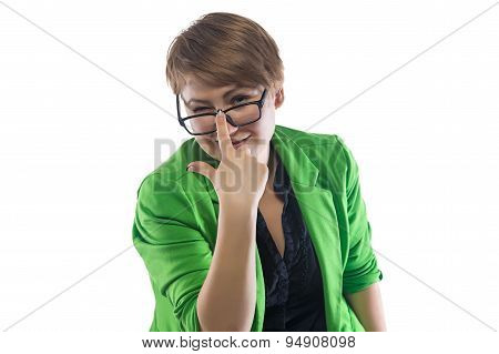 Photo of winking  pudgy young woman with glasses
