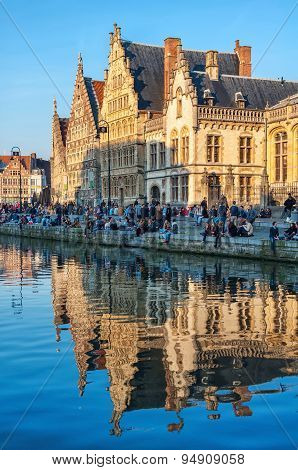 Graslei - Medieval Old Part Of Ghent, Belgium