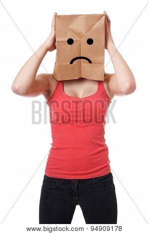 unhappy paper bag girl
