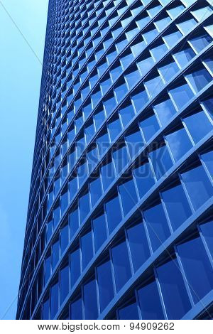 Modern Metallic And Glass Building Facade In Blue Tone