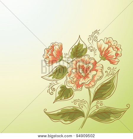 Holiday Background, Flower and Leaves