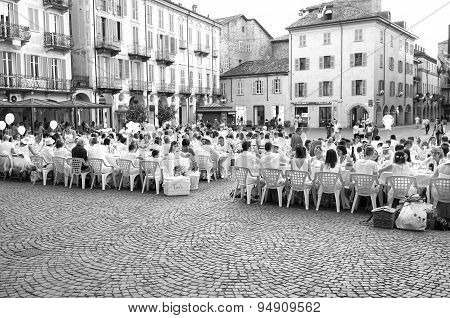 White dinner in Alba. Black and white photo