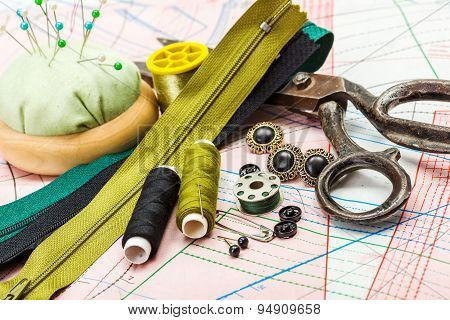 Green Sewing Accessories