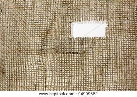 Texture Of Burlap Hessian  With Frayed Edges