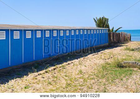 Bathing-huts. Barletta. Puglia. Italy.