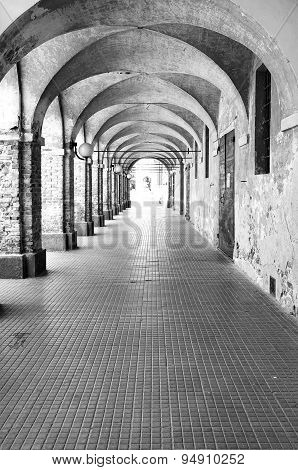 Cherasco, Cuneo. Black and white photo