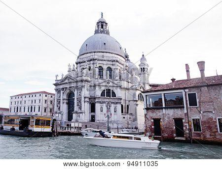 The Grand Canal And Basilica Santa Maria Della Salute, Venice, Italy.