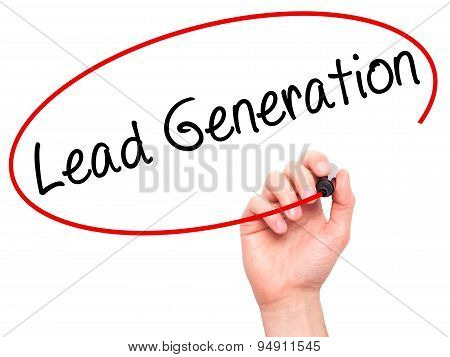 Man Hand writing Lead Generation with black marker on visual screen.