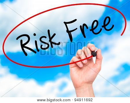 Man Hand writing Risk Free with black marker on visual screen.
