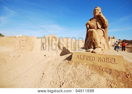 Alfred Nobel Large Sand Sculpture In Algarve, Portugal.