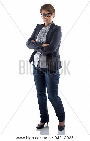 Image serious woman in glasses with arms crossed
