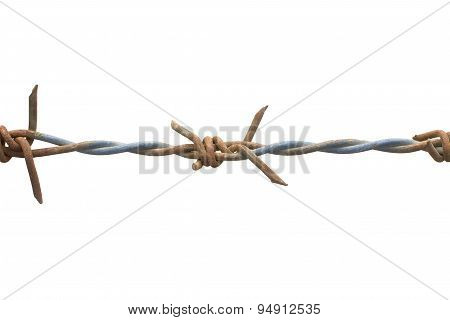 Old And Rusty Barbed Wire Isolated