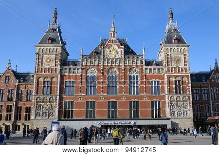 Amsterdam, Netherlands - May 8, 2015: People At Amsterdam Central Train Station