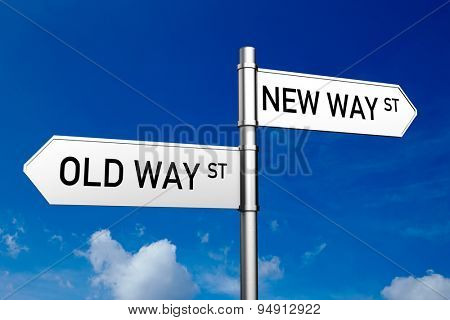 Old Way or New Way as a concept on street signs in front of a blue sky (3D Rendering)
