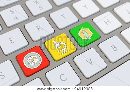 Different medical and science symbols on a computer keyboard (3D Rendering)