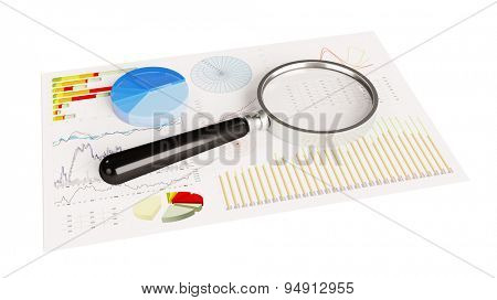 Magnifying glass on financial analysis pie charts on paper (3D Rendering)